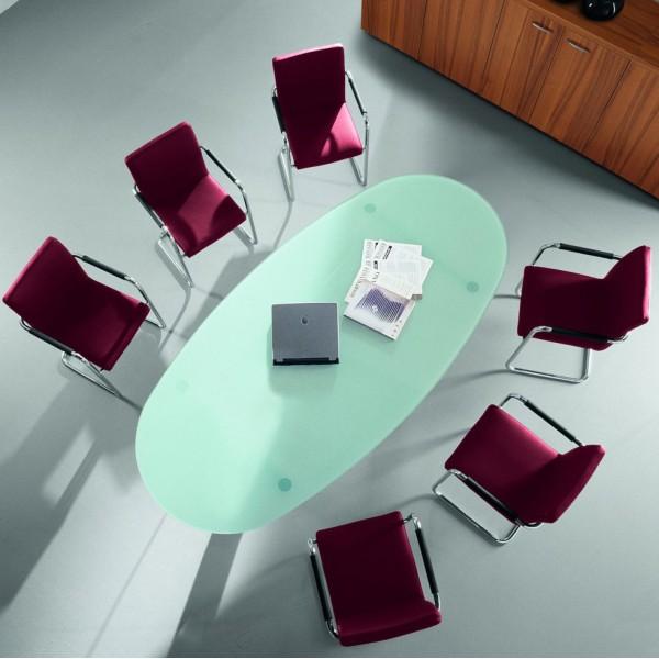 Table ovale en verre oakland 8 places lemondedubureau - Tavolo riunioni ovale vetro ...