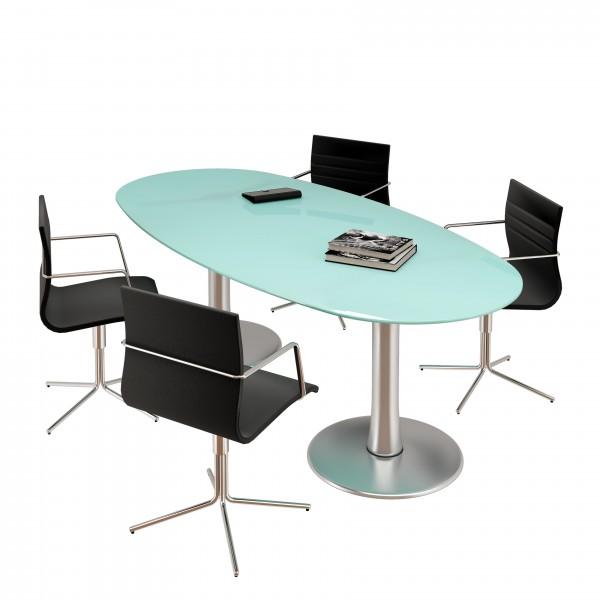 table ovale en verre oakland 8 places lemondedubureau. Black Bedroom Furniture Sets. Home Design Ideas