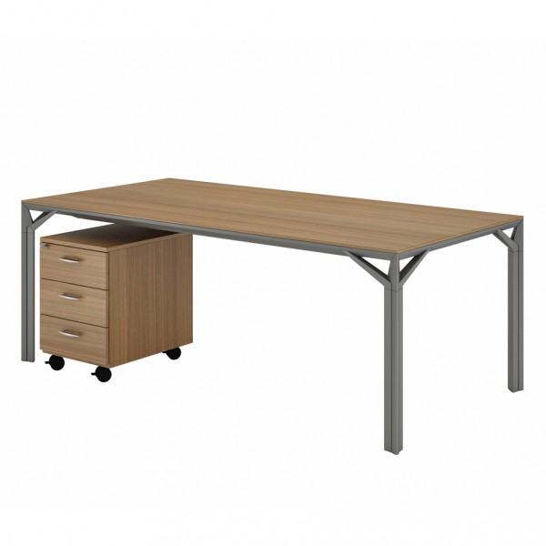 Bureau droit 180cm 220cm en aluminium eight lemondedubureau for Bureau haut de gamme