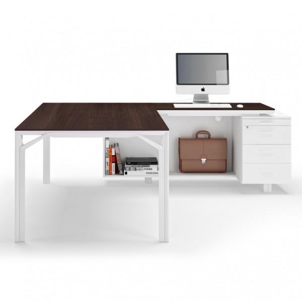 bureau avec retour 180cm 240cm en aluminium eight lemondedubureau. Black Bedroom Furniture Sets. Home Design Ideas