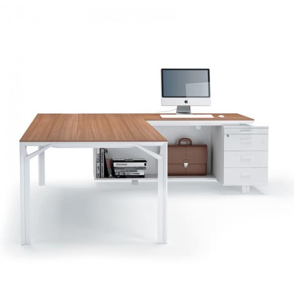 Bureau avec retour 180cm 240cm en aluminium eight for Bureau avec rangement haut