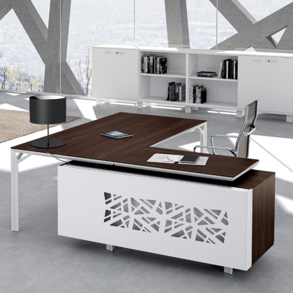 bureau avec retour 180cm 240cm en aluminium eight. Black Bedroom Furniture Sets. Home Design Ideas