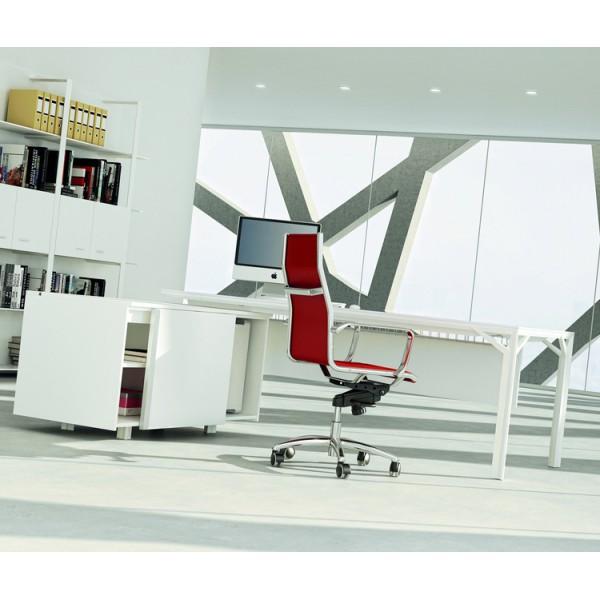 bureau avec desserte 180cm 240cm en aluminium eight. Black Bedroom Furniture Sets. Home Design Ideas