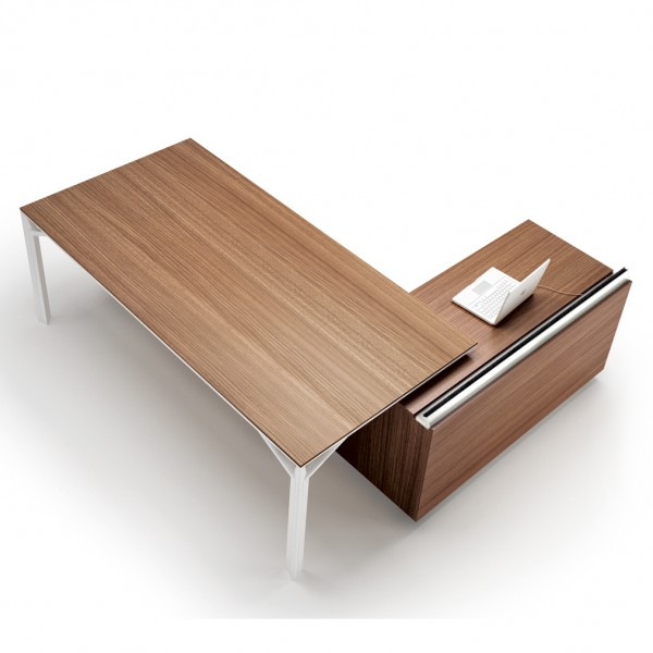 bureau avec desserte 180cm 240cm en aluminium eight lemondedubureau. Black Bedroom Furniture Sets. Home Design Ideas