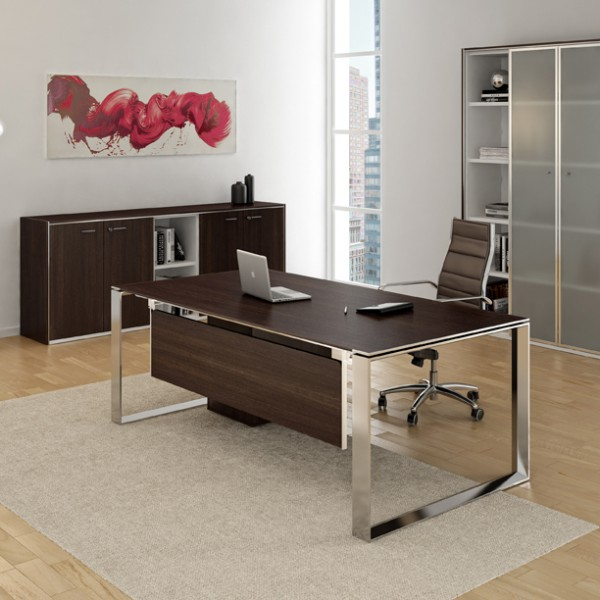 bureau droit 180cm 200cm en aluminium eight lemondedubureau. Black Bedroom Furniture Sets. Home Design Ideas