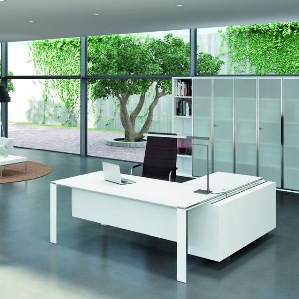 Bureau avec retour 180cm 200cm en aluminium eight for Exemple de bureau