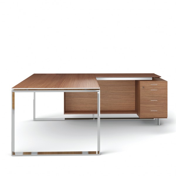 bureau avec retour 180cm 200cm en aluminium eight. Black Bedroom Furniture Sets. Home Design Ideas