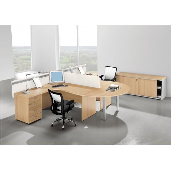 Bureau compact avec retour caisson monaco lemondedubureau for Bureau compact