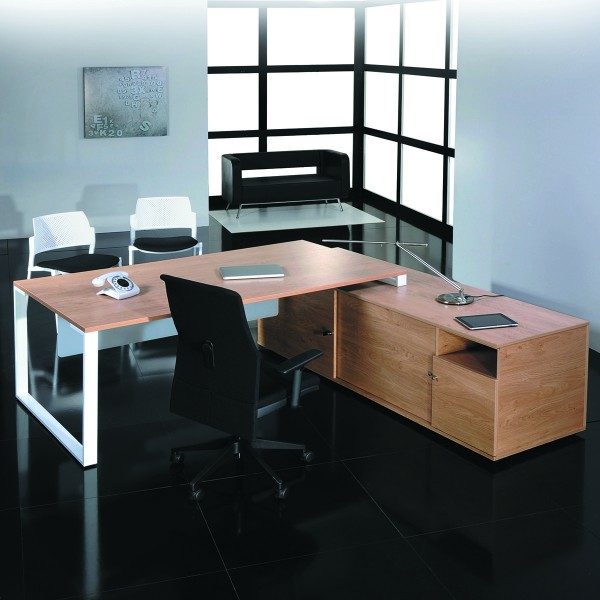 bureau de direction sur console bois et acier. Black Bedroom Furniture Sets. Home Design Ideas