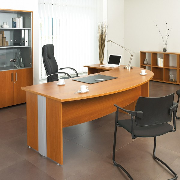Bureau droit bois et aluminium majestik lemondedubureau for Bureau direction