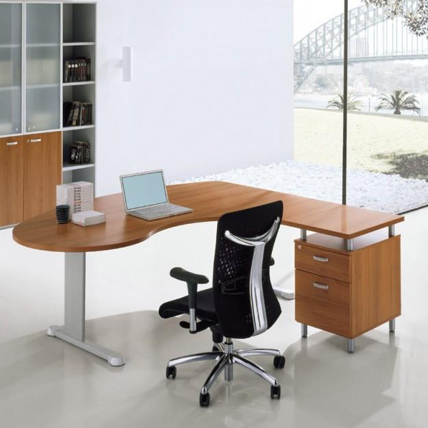 Bureau ergonomique avec retour sur caisson