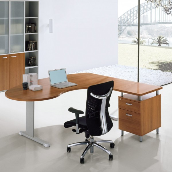 bureau ergonomique avec retour sur caisson cleveland. Black Bedroom Furniture Sets. Home Design Ideas