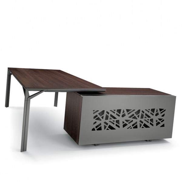 bureau avec desserte 180cm 240cm en aluminium eight lemondedubureau. Black Bedroom Furniture Sets. Home Design Ideas