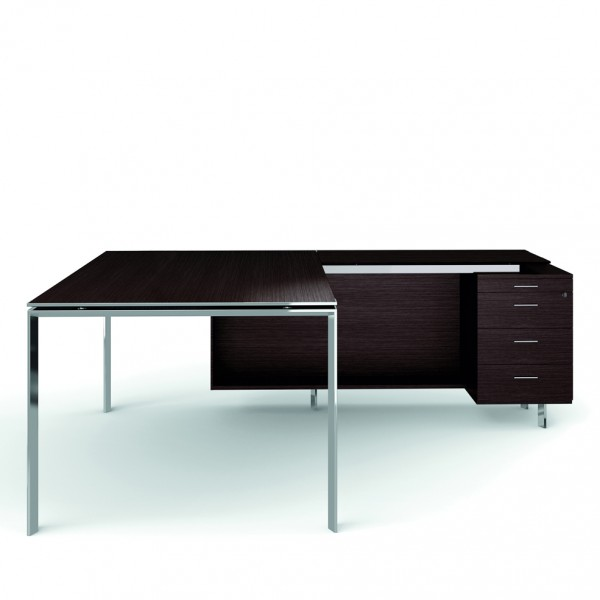 bureau avec retour 180cm 200cm en aluminium eight lemondedubureau. Black Bedroom Furniture Sets. Home Design Ideas