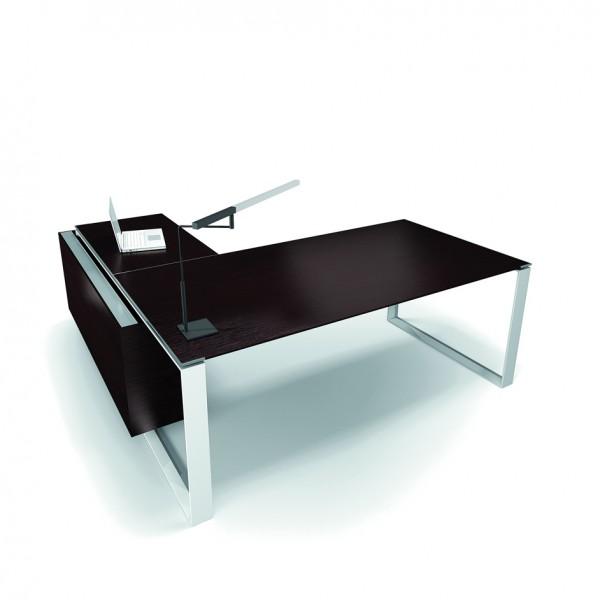 bureau avec retour 180cm 200cm en aluminium eight lemondedubureau. Black Bedroom Furniture Sets. Home Design Ideas