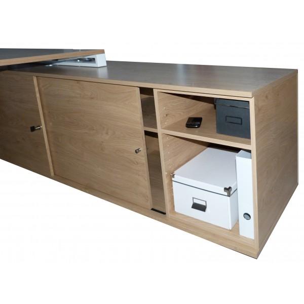 bureau de direction sur console bois et acier. Black Bedroom Furniture Sets. Home Design Ideas