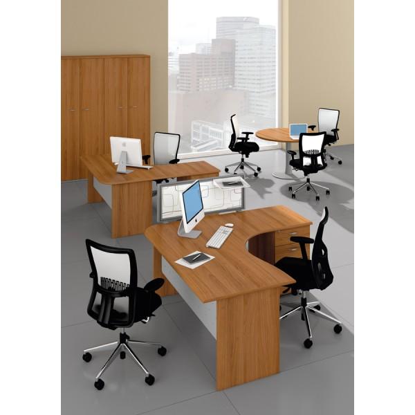 bureau compact avec retour caisson monaco lemondedubureau. Black Bedroom Furniture Sets. Home Design Ideas