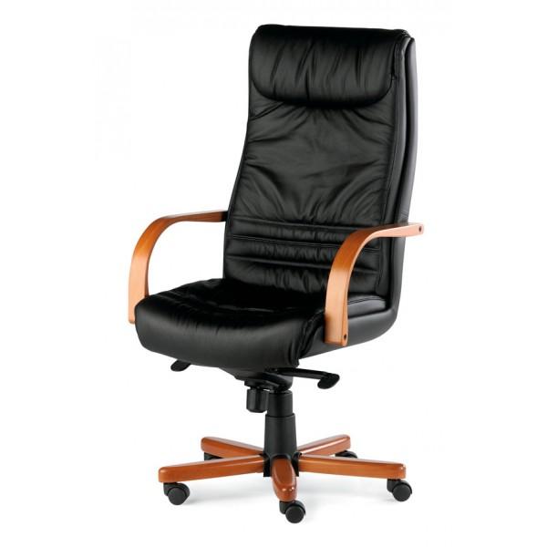 fauteuil pr sident cuir et bois kerlouan lemondedubureau. Black Bedroom Furniture Sets. Home Design Ideas